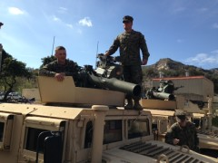 Marines On A Military Humvee With State of the Art Lethal Weapons